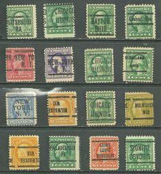 US  Defitives of 12 stamps precancel LL,New York NY 20¢ Franklin & 6¢ Washington