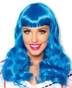 Leuchtend blaue Party Girl Perücke für einen crazy Look.