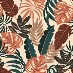 Tropical leaves and plants Premium Vecto. Leaves Wallpaper Iphone, Apple Watch Wallpaper, Plant Wallpaper, Cute Backgrounds, Wallpaper Backgrounds, Plant Illustration, Pretty Wallpapers, Wall Collage, Wall Art