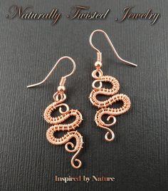 Serpent Wire Wrapped Copper Earrings