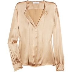 Chloé Pleated silk-satin blouse (17 485 UAH) ❤ liked on Polyvore featuring tops, blouses, shirts, chloe, beige shirt, shirt blouse, long sleeve snap shirt, snap button shirts and beige blouse