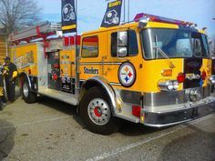 Awesome you have the correct word. I love this so much I think I'm going to go to Pittsburgh to meet the fire truck. Steelers Gear, Here We Go Steelers, Pittsburgh Steelers Football, Pittsburgh Sports, Pittsburgh Penguins, Steelers Stuff, Steelers Cheerleaders, Steelers Fans, Football Pics