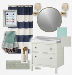 Like the idea of incorporating navy in the bathroom!!! And gold light fixtures/updates to knobs... Mood Board {Navy and Mint bathroom}