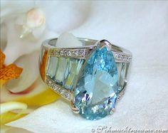 RP: Aquamarine Drop Ring with Diamonds