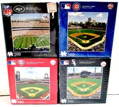 4 Fundex 100 Piece Puzzles 3 Baseball 1 Football Phillies Cubs White Sox & Jets #FundexGames..... Visit all of our online locations..... www.stores.ebay.com/ourfamilygeneralstore ..... www.bonanza.com/booths/Family_General_Store ..... www.facebook.com/OurFamilyGeneralStore