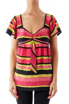 Like this Nanette Lepore top? Shop this without using money! Trade. Shop. Discover. #fashionexchange #prelovedfashion  Multi Color Stripe Short Sleeve Top by Nanette Lepore