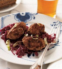Frikadeller (Danish Meatballs) - (Made with ground veal, ground pork, onion, milk, crème fraîche, bread crumbs, parsley. thyme, caraway. Served here with the traditional red cabbage.)