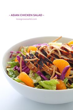 A fresh, flavorful Asian Chicken Salad with tender grilled chicken slices, juicy mandarin oranges, and a delicious sesame dressing! | LoveGrowsWild.com