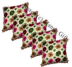 "5Pcs Handmade Pom Pom Floral Embroidery Indian Cushion Covers Case Square 16x16"" #Handmade #ArtDecoStyle"