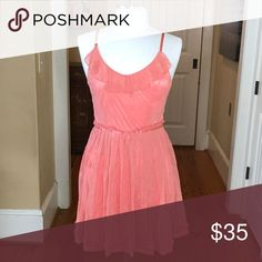 Peach colored lacy dress Peachy lace with under skirt. Zips up back. Size large Juniors Altar'd State Dresses Mini