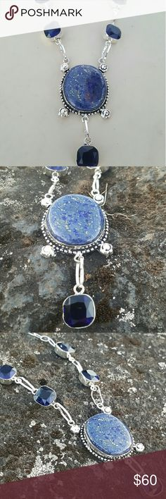 Lapis lazuli and tanzanite necklace Lapis lazuli and facated tanzanite quartz  (Authentic) set in 925 sterling silver  ( stamped) 18 inches long NWOT Robin's Nest Jewels  Jewelry Necklaces