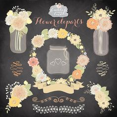 Vector flower cliparts by burlapandlace on Creative Market
