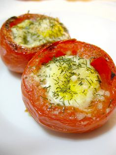 Eggs baked in a tomato shell