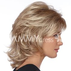 Elegant Charming Medium Wavy Layered Human Hair Side Bang Fluffy Fashion Capless Wig For Women