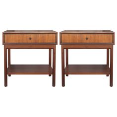 Pair of Elegant Walnut Nightstands | From a unique collection of antique and modern night stands at https://www.1stdibs.com/furniture/tables/night-stands/