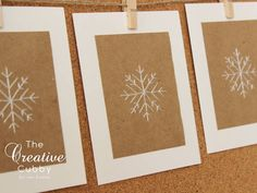 Hand Embroidered White Snowflake Holiday Christmas Cards (set of 10)