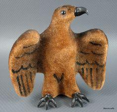 #Wagner #Eagle Wool Flocked 1966 -83 #Kunstlerschutz Bird Putz Figure Label 3 inches Vintage