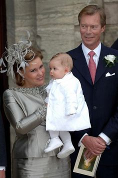 Grand Duke Henri of Luxembourg with his wife Grand Duchess Maria Theresa and their grandson Gabriel on their son's, Louis, wedding day to Tessy Antony-September, 2006