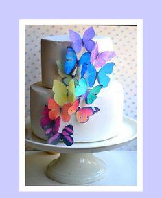 Rainbow Edible Butterflies Cake
