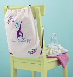 EK Success American Girl Crafts Drawstring Bag Iron-on Kit, McKenna Girl of The Year 2012 American Girl Mckenna, American Girl Crafts, Gymnastics Birthday, Gymnastics Things, Gymnastics Bags, Olympic Gymnastics, Kids Party Themes, Party Ideas, Sleepover Party