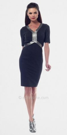 Dark Grey Leather V Neck Office Dresses From NUE by Shani......Price - $280.00 - uDITiJQn