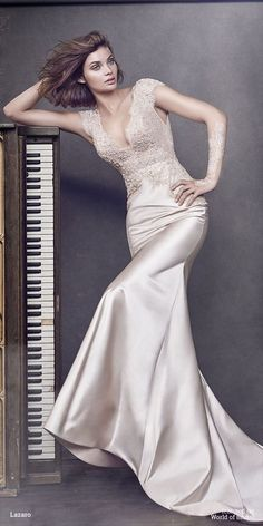 Blush bias cut silk satin trumpet bridal gown, V neckline with open back, shear beaded Chantilly lace bodice with short cap sleeve, chapel train.