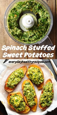 These simple 4-ingredient vegetarian stuffed sweet potatoes with spinach and feta make a quick and delicious snack. Also great as an appetizer or light lunch. Serve hot or cold. #sweetpotatorecipes #stuffedsweetpotatoes #spinachrecipes #healthysnacks #easyappetizer #sidedishrecipes #everydayhealthyrecipes Vegetarian Recipes Easy, Vegetable Recipes, Healthy Recipes, Healthy Snacks Vegetarian, Spinach And Potato Recipes, Quick Vegetarian Dinner, Vegetarian Barbecue, Paleo Meals, Healthy Lunches