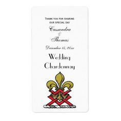 #wedding #thankyoucards - #Preppy Gold Red Heraldic Crest Fleur de Lis Emblem Label