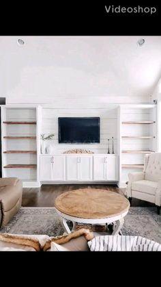 Built In Shelves Living Room, Narrow Living Room, Living Room Tv, Living Room Remodel, Decor Around Tv, Built In Entertainment Center, Georgia Homes, Family Room Design, Small House Design