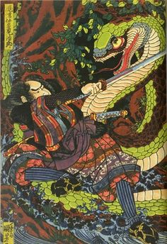 Kuniyosi musha warriors japan Ukiyo-e Japanese Art Prints, Japanese Drawings, Japanese Artwork, Tatoo Designs, Snake Art, Traditional Japanese Art, Japanese Folklore, Kuniyoshi, Irezumi