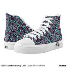 Stylized Texture Luxury Ornate High-Top Sneakers