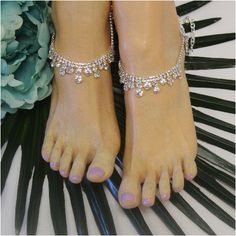 315ba406bad26d Barefoot Sandals · ELIZABETH rhinestone ankle bracelet - silver – Catherine  Cole Silver Rhinestone