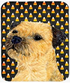 Border Terrier Candy Corn Halloween Portrait Mouse Pad, Hot Pad or Trivet