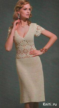 Вязание крючком элегантного летнего платья beautiful crochet dress in beige with graph pattern