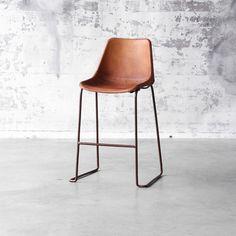 Tabouret de bar en acier avec finition oxydé et assise en cuir Vintage Brown 09-Vintage 65 Brown
