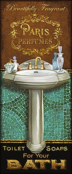 Art Print: Francais de Bain I by Conrad Knutsen : Wall Prints, Fine Art Prints, Paris Perfume, Open Signs, Bathroom Prints, Bathroom Pictures, Coffee Signs, France, Bath Time