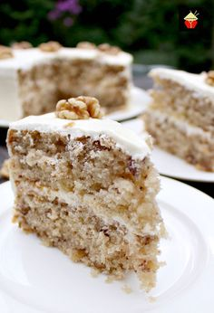 Walnut Cake is a delicious easy recipe. the cake is so soft and fluffy! Recipe also for a lovely vanilla frosting. You can make this as a round cake or a loaf, instructions for both. Freezer friendly too. This would also make a nice cake for the holidays! Zucchini Desserts, Zucchini Bars, Zuchinni Bread, Just Desserts, Delicious Desserts, Yummy Food, Polish Desserts, Yummy Yummy, Delish