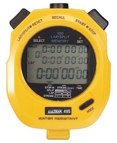 ULTRAK 495 Professional Stopwatches - 100 Lap Memory - Yellow by Ultrak. Save 7 Off!. $42.99. 100 dual split recallable memoryContinuous display of event timeMemory recall during operationLarge three row displayMeasures to ten hoursStroke/frequencyTime and calendarWater resistant; lithium battery