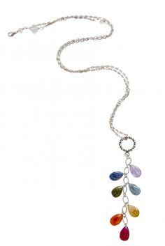 Long Dangle Chakra Necklace - Silver