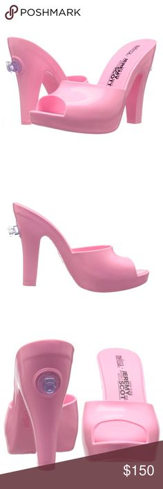 "✨HP✨ Melissa + Jeremy Scott Pink Inflatable Mules 100% PVC Synthetic sole Heel measures approximately 4.75"" Platform measures approximately 1"" New in box Melissa Shoes Mules & Clogs"