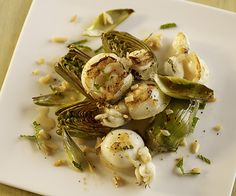 Sepia and baby artichokes. Recipe by Sara Jenkins; photo by Chris Cassidy.