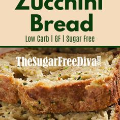 This delicious recipe for Sugar Free Homemade Zucchini Bread is sure to be a favorite for you and your friends and family as well. Diabetic Zucchini Bread Recipe, Sugar Free Zucchini Bread, Sugar Free Bread, Zuchinni Bread, Best Zucchini Bread, Sugar Free Baking, Zuchinni Recipe, Diabetic Desserts, Diabetic Recipes