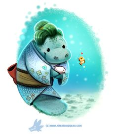 Daily Paint Manatea Time by Piper Thibodeau on ArtStation. Cute Animal Drawings, Kawaii Drawings, Cute Drawings, Cartoon Art, Cute Cartoon, Chibi, Animal Puns, Cute Illustration, Illustration Animals