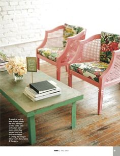 Not normally a cane/rattan furniture person but this is lovely: Karson Butler Studios: pink cane chairs + chiangmai dragon