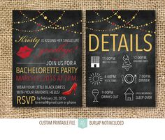 Bachelorette or Hen Party Invitation- Printable File- Chalkboard Invite- Digital Invitation- Kissing her Single Life Goodbye