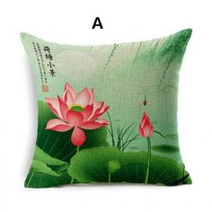 Chinese style lotus scenery linen pillows vintage decorative square cushion