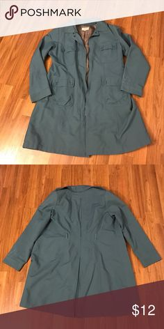 Merona blue trench coat Blue trench-coat like jacket. It used to have a belt but I do not have that anymore. Zipper front, pleated in back. Good condition. Cotton/nylon with polyester lining. Merona Jackets & Coats Trench Coats