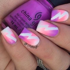 Fabulous Gradient Nail Art Designs An adorable looking gradient nail art in pink and violet color combination with thunderbolt details.An adorable looking gradient nail art in pink and violet color combination with thunderbolt details. Pink Nail Art, Cute Nail Art, Gradient Nails, Acrylic Nails, Ombre Nail, Galaxy Nails, Rainbow Nails, Fancy Nails, Diy Nails