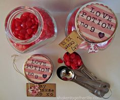 Craftaholics Anonymous® | 49 Valentines Gift in a Jar Ideas  Do it with a skull and cross bones bottle