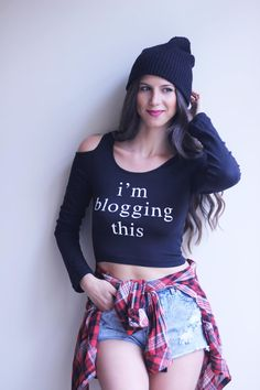 I'm Blogging This  Longsleeve Cutout Crop Top  Black by ShopZoetic, $19.99